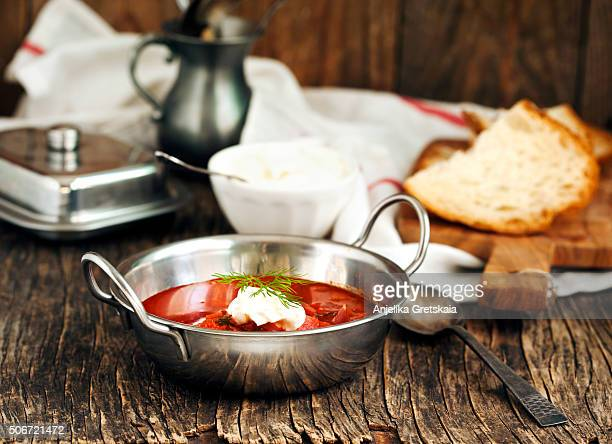 Soup with red beets. Russian traditional dish.