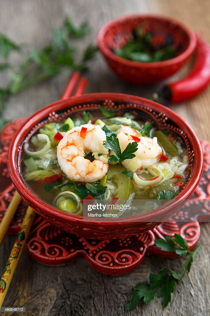 Soup with shrimps : Stock Photo