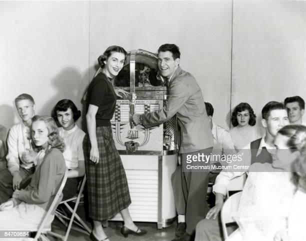 Soupy Sales with an unidentified woman during filming of the WKRCTV show 'Soupy's Soda Shop' America's first teen dance show Cincinnati 1950 They are...