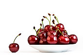 Sour cherries on white background