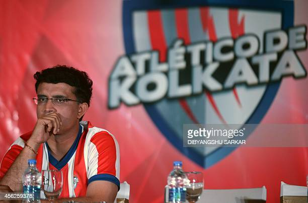 Sourav Ganguly former Indian cricket captain and coowner of the Atletico De Kolkata looks on during the launch of the football team for the Indian...
