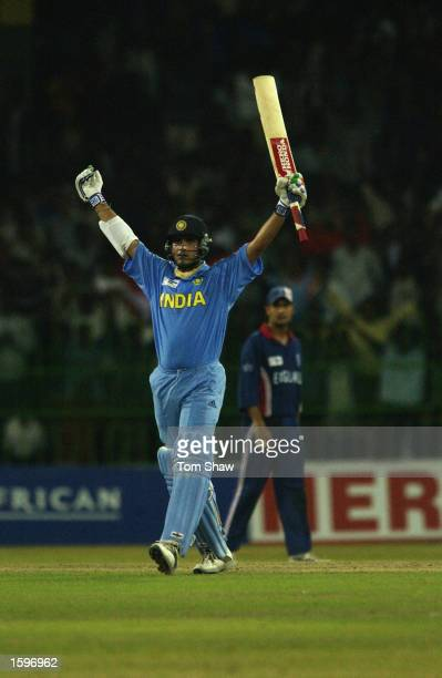 Sourav Ganguly of India celebrates his century during the ICC Champions Trophy match between England and India at the R Premadasa Stadium Colombo Sri...