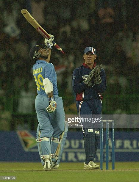 Sourav Ganguly of India celebrates reaching his century during the England v India match of the ICC Champions Trophy at the R Premadasa Stadium...
