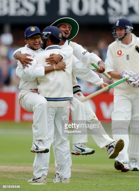 Sourav Ganguly of India celebrates victory with his team mates Harbhajarn Singh and Virender Sehwag during the Third npower Test match between...