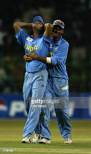 Sourav Ganguly of India celebrates victory with Mohammed Kaif after the ICC Champions Trophy semifinal match between India and South Africa held on...