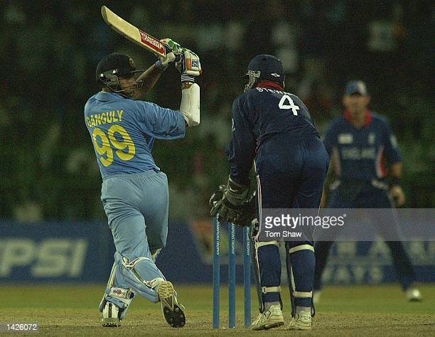 Sourav Ganguly of India hits out during the England v India match of the ICC Champions Trophy at the R Premadasa Stadium Colombo Sri Lanka on...