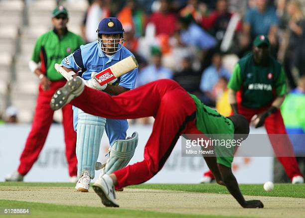 Sourav Ganguly of India pushes the ball back past Martin Suji of Kenya during the ICC Champions Trophy match between India v Kenya on September 11...
