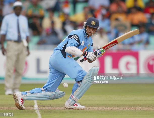 Sourav Ganguly of India sweeps during the ICC Cricket World Cup SemiFinal between India and Kenya at the Kingsmead cricket ground in Durban South...