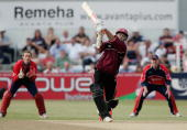 Sourav Ganguly of Northamptonshire plays and is caught behind by Carl Gazzard during the Twenty20 match between Northamptonshire Steelbacks and...