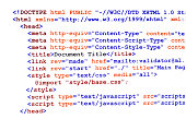 HTML source code of web page with document title, metadata description and links monitor screenshot front view on white background