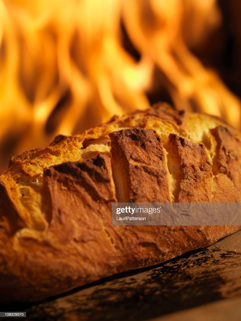 Sourdough Bread in a Wood Burning oven : Stock Photo