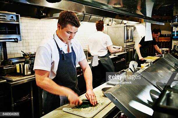 Sous chef chopping cilantro in restaurant kitchen
