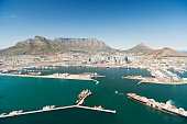 South Africa, aerial view of Cape Town with harbor