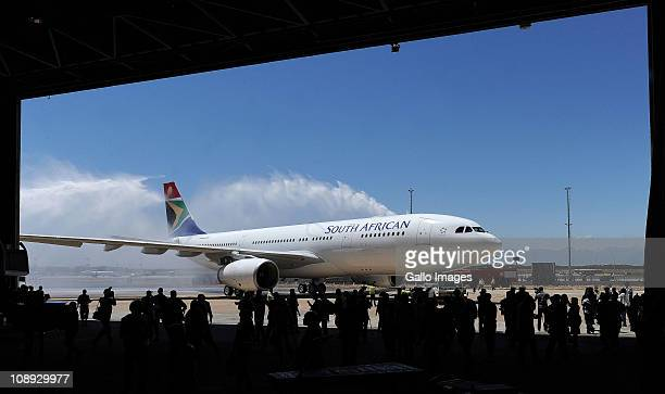 South Africa Airways conduct a delivery ceremony for the arrival of the new Airbus A330200 at Cape Town International Airport on February 8 2011 in...