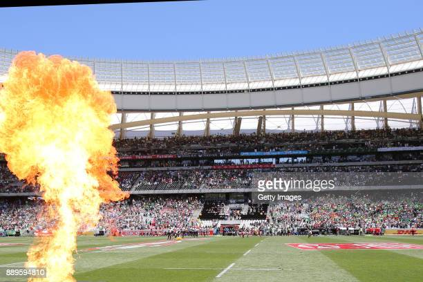 South Africa and Fiji players during the 2017 HSBC Cape Town Sevens at Cape Town Stadium on December 10 2017 in Cape Town South Africa