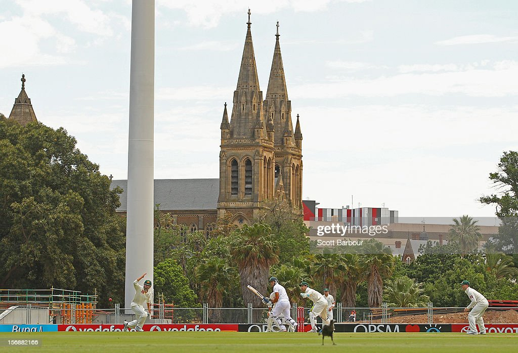 South Africa bat with St Peter's Cathedral in the background during day three of the Second Test Match between Australia and South Africa at Adelaide Oval on November 24, 2012 in Adelaide, Australia.