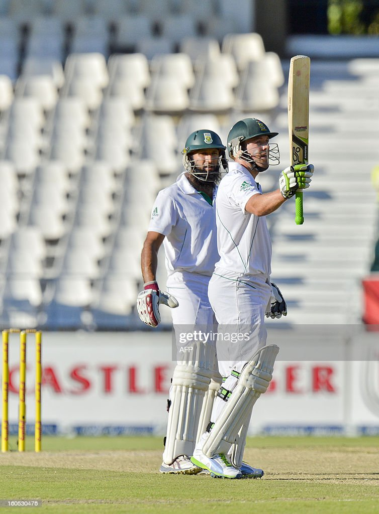 South Africa batsman AB de Villiers celebrates reaching 50 on day two of the first Test match between South Africa and Pakistan, in Johannesburg at Wanderers Stadium on February 2, 2013.