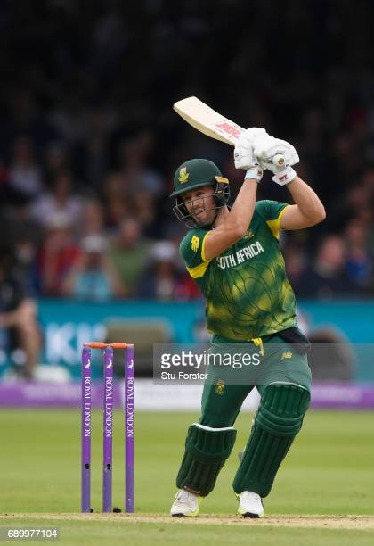 South Africa batsman AB de Villiers hits out during the 3rd Royal London Cup match between England and South Africa at Lord's Cricket Ground on May...