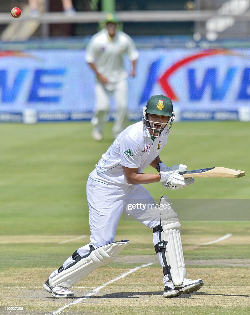South Africa batsman Alviro Petersen plays a shot on day two of the first Test match between South Africa and Pakistan, in Johannesburg at Wanderers Stadium on February 2, 2013. AFP PHOTO / str