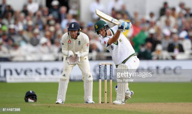 South Africa batsman Chris Morris hits out watched by Jonathan Bairstow during day one of the 2nd Investec Test match between England and South...