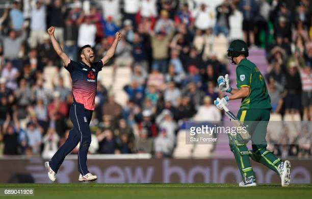 South Africa batsman Chris Morris reacts as Mark Wood celebrates victory during the 2nd Royal London One Day International between England and South...