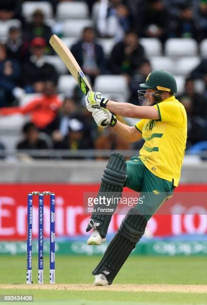 South Africa batsman David Miller hits out during the ICC Champions Trophy match between South Africa and Pakistan at Edgbaston on June 7 2017 in...