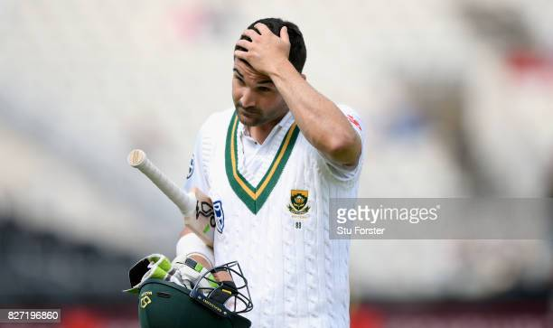 South Africa batsman Dean Elgar reacts after being dismissed during day four of the 4th Investec Test match between England and South Africa at Old...
