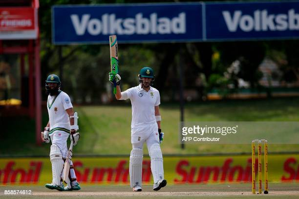 South Africa batsman Faf du Plessis celebrates a century during the second day of the second Test Match between South Africa and Bangladesh in...