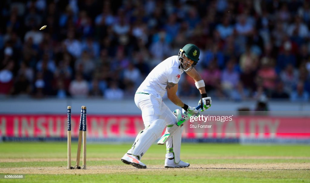 South Africa batsman Faf du Plessis is bowled by James Anderson ( not pictured) during day two of the 4th Investec Test match between England and South Africa at Old Trafford on August 5, 2017 in Manchester, England.