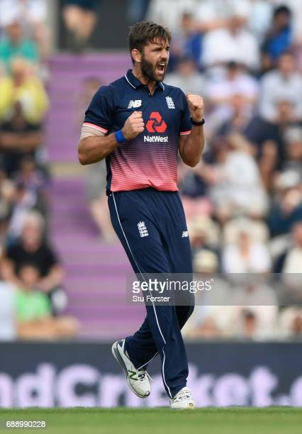South Africa batsman Faf du Plessis is dismissed by Liam Plunkett during the 2nd Royal London One Day International between England and South Africa...