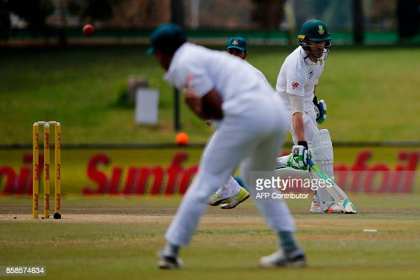 South Africa batsman Faf du Plessis makes his ground safe during the second day of the second Test Match between South Africa and Bangladesh in...