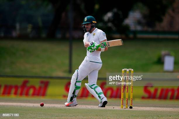 South Africa batsman Faf du Plessis plays a shot during the second day of the second Test Match between South Africa and Bangladesh in Bloemfontein...
