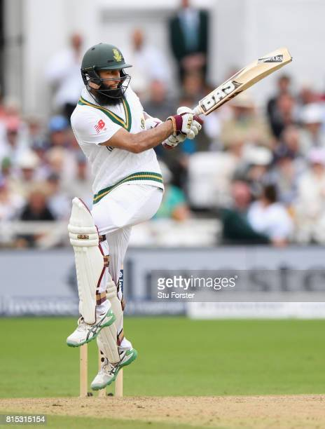 South Africa batsman Hashim Amla hits out during day three of the 2nd Investec Test match between England and South Africa at Trent Bridge on July 16...