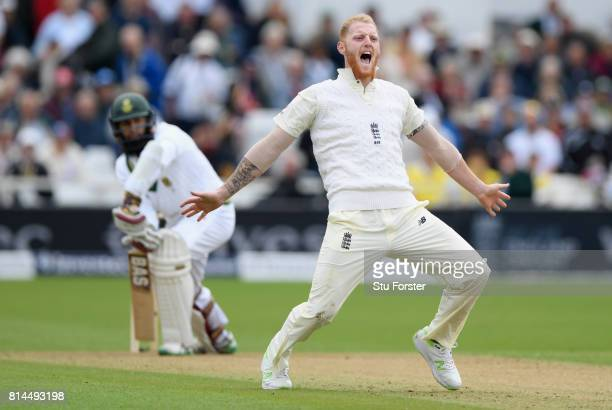 South Africa batsman Hashim Amla survives an lbw appeal by England bowler Ben Stokes which goes to the third umpire for referal during day one of the...