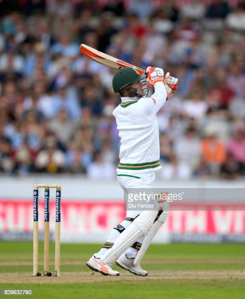 South Africa batsman Heino Kuhn hits out during day two of the 4th Investec Test match between England and South Africa at Old Trafford on August 5...