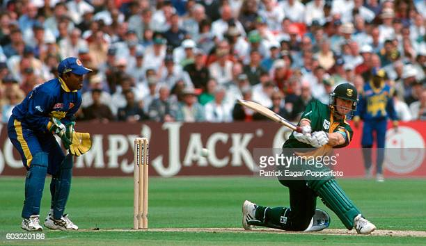 South Africa batsman Jonty Rhodes plays a reverse sweep shot during the World Cup match between South Africa and Sri Lanka at the County Ground...