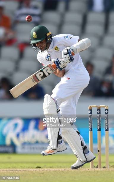 South Africa batsman Keshav Maharaj avoids a delivery from England bowler James Anderson on day 4 of the fourth Test match between England and South...