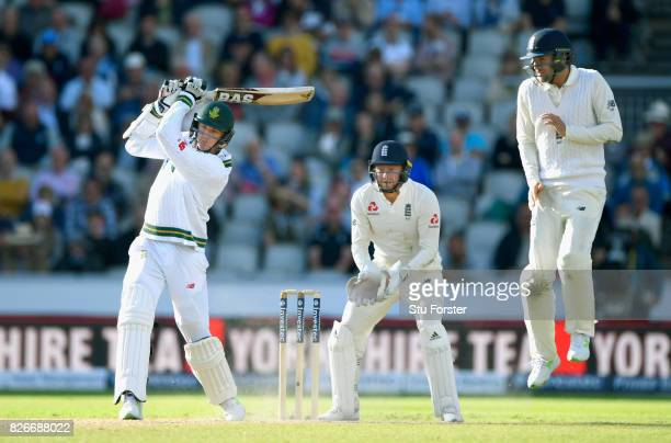South Africa batsman Morne Morkel swings the bat watched by Bairstow and Malan during day two of the 4th Investec Test match between England and...