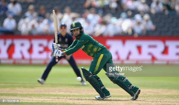 South Africa batsman Trisha Chetty hits out during the ICC Women's World Cup 2017 SemiFinal at The County Ground on July 18 2017 in Bristol England