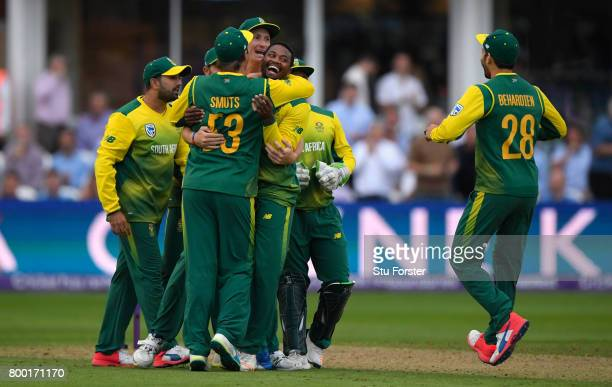 South Africa bowler Andile Phehlukwayo is congratulated after bowling the final ball which England failed to hit the winning runs during the 2nd...