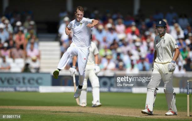 South Africa bowler Chris Morris celebrates after dismissing England batsman Alastair Cook during day four of the 2nd Investec Test match between...