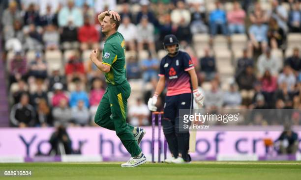 South Africa bowler Chris Morris reacts after a ball to Joe Root during the 2nd Royal London One Day International between England and South Africa...