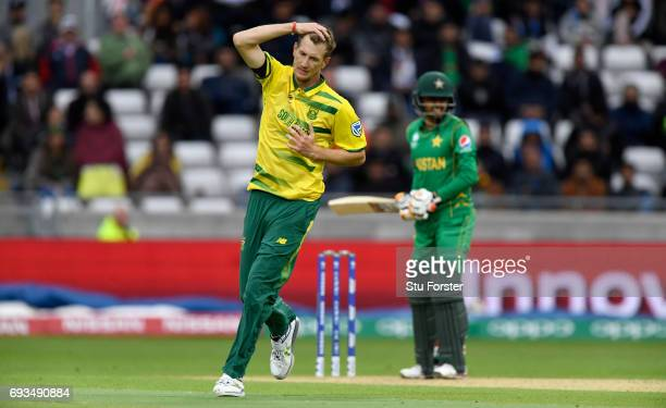 South Africa bowler Chris Morris reacts after a good delivery during the ICC Champions Trophy match between South Africa and Pakistan at Edgbaston on...