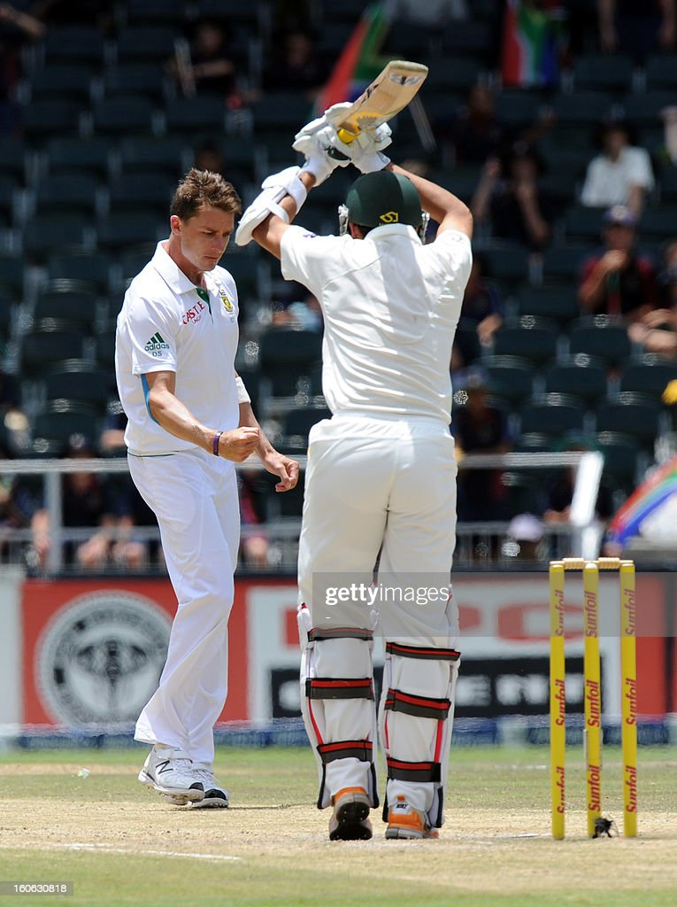 South Africa bowler Dale Steyn takes the wicket of Pakistan's Junaid Khan on February 4, 2013 on day four of the first Test match at Wanderers stadium in Johannesburg.