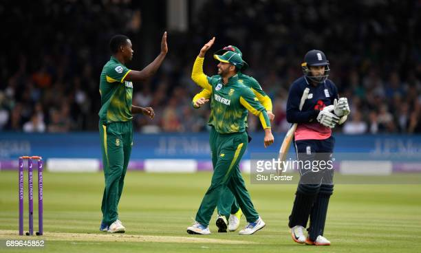 South Africa bowler Kagiso Rabada is congratulated after dismissing Adil Rashid first ball during the 3rd Royal London Cup match between England and...