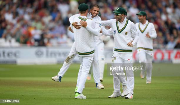 South Africa bowler Keshav Maharaj celebrates after bowling Jonny Bairstow during day two of the 2nd Investec Test match between England and South...