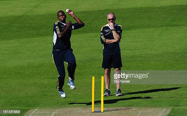 South Africa bowler Lonwabo Tsotsobe in action during South Africa nets at Emirates Durham ICG on September 7 2012 in ChesterleStreet England