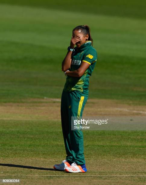 South Africa bowler Shabnim Ismail reacts during the ICC Women's World Cup 2017 match between England and South Africa at The County Ground on July 5...