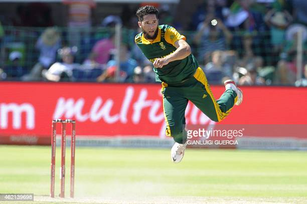 South Africa bowler Wayne Parnell bowls on during the 4th One Day International cricket match on January 25 2015 at St George cricket ground in Port...
