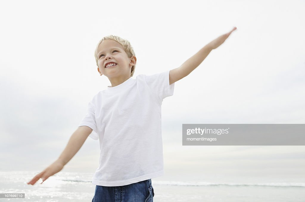 South Africa, Boy (4-5) playing on beach : Stock Photo